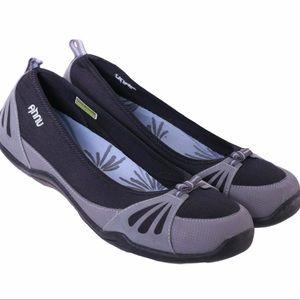 Ahnu Black Corset Bow Ballet Flats 9.5